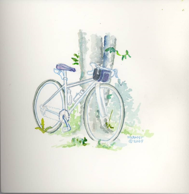 watercolour bike, Jasper trip